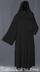 Robe:R363, Robe Style:Sith Jedi or Holocaust Style Cloak, Robe Color:Dark Brown nearly black, Fiber:Polyester Rayon Suiting, Neck:21.5&quot;, Sleeve:35&quot;, Chest:up to 56&quot;, Length:56&quot;, Height:5&#039; 5&quot; at the tallest, Note:Light weight and easy care<br>this robe is a great Sith,<br>wizard or druid during<br>the spring or fall.<br>Made of a dark brown<br>nearly black machine washable<br>poly rayon suiting with a<br>hidden hook and eye clasp,<br>makes a great accessory for<br> everyday wear,<br>LARP or Renaissance Fair..