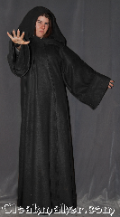 Robe:R364, Robe Style:Sith or Holocaust Style Cloak, Robe Color:Black, Fiber:Fleece, Neck:22.5&quot;, Sleeve:38&quot;, Chest:up to 50&quot;, Length:65&quot;, Height:Up to 6&#039;4&quot;, Note:Warm soft , a great Sith, wizard<br>or bath robe for spring or fall.<br>Made of a lightweight fleece<br>with a black vale clasp, <br>makes a great accessory for everyday wear,<br> LARP Renaissance Fair or lounging on the couch.<br>Machine washable..