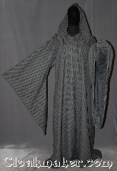 Robe:R365, Robe Style:Novelty weave<br>Gandalf liripipe, Robe Color:Novelty weave slate grey/<br>blue with tan accents., Fiber:Novelty weave<br>Wool blend Suiting<br>Machine washable, Neck:22&quot;, Sleeve:36&quot;, Chest:58&quot;, Length:66&quot;, Height:Up to 6&#039; 5&quot;. Can be shortened, Note:Unique, light weight and easy care<br>this long drop sleeved robe<br>s a great Gandalf wizard or druid<br>perfect for use during the spring or fall.<br>Made of a machine washable novelty<br>weave wool suiting suiting with<br>hook and eye clasp<br>and liripipe hood <br>makes a great accessory<br>for everyday wear, LARP <br>Renaissance Fair..