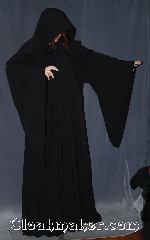 Robe:R366, Robe Style:Sith or Holocaust Style Cloak, Robe Color:Black, Fiber:Polyester Rayon Suiting, Neck:23&quot;, Sleeve:37&quot;, Chest:up to 60&quot;, Length:64&quot;, Note:Light weight and easy care this<br>long drop sleeved robe is a great<br>Sith, Wizard or Druid during the<br>spring or fall.<br>Made of a machine washable<br>poly rayon suiting with a<br>black alpine knot and eye clasp,<br>makes a great accessory for everyday wear,<br> LARP Renaissance Fair.