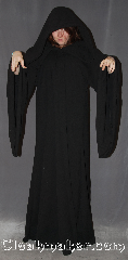 Robe:R368, Robe Style:Petite Emperor Palpatine / <br>Darth Sidious Outer Robe, Robe Color:Black, Fiber:Textured wool blend suiting, Neck:24&quot;, Sleeve:24.5&quot;-34.5&quot;, Chest:Up to 50&quot;, Length:64&quot;, Height:Up to 6&#039; 3&quot;. Can be shortened, Note:Join the dark side with this<br>Emperor Palpatine&#039;s light<br>weight 100% textured/woven<br>wool with cording in the extra large hood<br> and adjustable ruch<br>on the sleeves. 501 compliant  <br>Dry clean only..