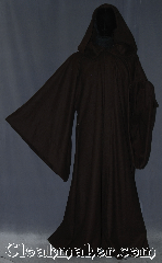 Robe:R367, Robe Style:Anakin Episode II, Robe Color:Brown black tight chevron, Fiber:Wool Blend, Neck:22&quot;, Sleeve:34&quot;, Chest:57&quot;, Length:65&quot;, Height:5&#039; 9&quot; at the tallest, Note:Modeled after Anakin Episode II-III<br>this robe is lightweight<br>and luxurious.<br>Perfect for mild winters or fall.<br>Made with a chevron pattern<br>wool suiting with hidden clasp,<br>makes a great accessory for everyday wear,<br>LARP or Renaissance Fair.<br>The robe can be   hemmed to height<br>dry clean only..