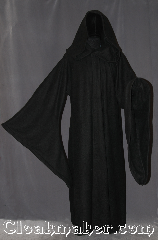 Robe:R370, Robe Style:Emperor Palpatine -<br>Darth Sidious Outer Robe<br>Sith / holocaust/ monk, druid, Robe Color:Black, Fiber:Polyester Fleece, Neck:25&quot;, Sleeve:41&quot;, Chest:68&quot;, Length:60&quot;, Height:5&#039; 10&quot; at the tallest, Note:Join the dark side with this<br>Emperor Palpatine&#039;s style light<br>weight 100% polyester fleece<br>with an extra large hood<br>and adjustable ruch<br>on the sleeves.<br>not 501 compliant<br>machine washable.
