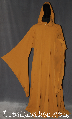Robe:R371, Robe Style:novelty weave Buddhist Jedi, Robe Color:Tumeric yellow, Fiber:Wool rayon blend, Neck:21&quot;, Sleeve:36&quot;, Chest:up to 64&quot;, Length:60&quot;, Height:5&#039; 10&quot; touches the ground, Note:&quot;In a dark place we find ourselves,<br> and a little more knowledge<br>lights our way.&quot; <br>Yoda, find your inner peace with this<br>buddhist-Jedi meditation robe. <br>Colored in traditional<br>Buddhist Turmeric in a<br>Jedi profile of open front hooded<br>robe with pointed drop sleeves<br>and hidden hook and eye clasp.<br>Made of a wool rayon blend cool<br>to the touch machine washable..