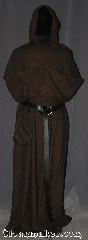 Robe:R372, Robe Style:Monk&#039;s Robe<br>with removable hooded cowl, Robe Color:Brown black tight chevron, Fiber:Wool Blend Machine washable, Sleeve:36&quot;, Chest:up to 66&quot;, Length:62&quot;, Height:6&#039; touches the ground, Note:Soft and lovely robe is comfortable for<br>whatever you need to do.<br>Pictured with a leather belt<br>(not included).<br>Robe comes with a rope belt<br>and a matching pouch. Machine washable.