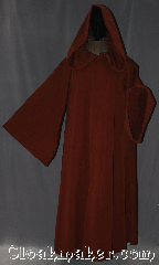 Robe:R374, Robe Style:Obi-Wan Jedi Robe<br>WITH POCKETS, Robe Color:Brown Rust, Fiber:Cotton Lycra, Neck:24.5&quot;, Sleeve:38&quot;, Chest:up to 70&quot;, Length:63&quot;, Height:Up to 6&#039; 2&quot;<br>Can be shortened, Note:Comfortable to wear<br>around the house<br>and around town.<br>This hooded Jedi style robe<br>is made of a bottom<br>weight cotton blend.<br>Distressed with slight<br>fading in places<br>Machine washable.<br>It has POCKETS.