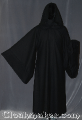 Robe:R375, Robe Style:Sith or Holocaust Style Cloak, Robe Color:Black, Fiber:Wool, Neck:25&quot;, Sleeve:35&quot;, Chest:up to 52&quot;, Length:55&quot;, Height:5&#039;5&quot;, Note:Have fun storming the castle<br>with this holocaust/<br>sith robe inspired<br>mid weight 100% wool.<br>With a open front and drop sleeves<br>you can rule the galaxy<br>Dry clean only..