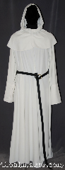 Robe:R382, Robe Style:Monk&#039;s Robe with detached hood, Robe Color:White, Fiber:Poly/Rayon<br>Machine Washable, Neck:26&quot;, Sleeve:38&quot;, Chest:Up to 46&quot;, Length:57&quot;, Height:up to 5&#039;6&quot;, Note:Soft and breathable this White<br>rayon poly twill robe is comfortable<br>for indoor and outside events.<br>With a brown or white rope belt<br>and matching coin pouch included. <br>Pictured with a leather belt<br>(sold separately)..