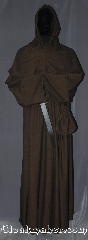 Robe:R383, Robe Style:Monk&#039;s Robe with removable hooded cowl, Robe Color:Brown black tight chevron, Fiber:Wool Blend<br>Machine washable, Sleeve:37&quot;, Chest:up to 56&quot;, Length:63&quot;, Height:Up to 6&#039;2&quot;, Note:Soft and warm this monks robe with<br>removable hood is comfortable for<br>whatever you need to do.<br> Made of a tight chevron wool suiting weave<br>Pictured with a leather belt<br>(not included).<br>Robe comes with a rope belt<br>and a matching pouch.<br>Dry or spot clean only.
