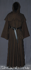 Robe:R384, Robe Style:Monk&#039;s Robe with removable hooded cowl, Robe Color:Brown black tight chevron, Fiber:Wool Blend<br>Machine washable, Sleeve:34&quot;, Chest:up to 56&quot;, Length:65&quot;, Height:Up to 6&#039;5&quot;, Note:Soft and warm this monks robe with<br>removable hood is comfortable for<br>whatever you need to do.<br> Made of a tight chevron wool suiting weave<br>Pictured with a leather belt<br>(not included).<br>Robe comes with a rope belt<br>and a matching pouch.<br>Dry or spot clean only.