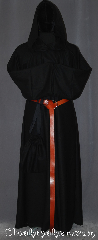 Robe:R389, Robe Style:Monk&#039;s Robe with attached cowl, Robe Color:Black, Fiber:100 % Wool, Sleeve:33&quot;, Chest:52&quot;, Length:58&quot;, Height:up to 5&#039;6&quot;, Note:A useful garment made of lightweight<br>Black wool with an attached cowl and pouch<br> Pictured with a leather belt<br> BTBRNS02 for an added $44<br>(not included).<br>Robe comes with a rope belt<br>Dry or spot clean only.