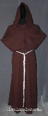 Robe:R392, Robe Style:Monk&#039;s Robe with attached cowl, Robe Color:Brown, Fiber:Linen/Rayon, Machine Washable, Sleeve:35&quot;, Chest:Up to 54&quot;, Length:57&quot;, Height:up to 5&#039;6&quot;, Note:Lightweight and easy care, in a rayon<br>rough linen look weave cotton fabric,<br>a great piece of spring monk outerwear.<br>With a attached pointed  hood<br>and rope belt makes a great accessory<br>for everyday wear, religious ceremony,<br>LARP or Renaissance Fair.<br>The Robe is machine washable!.