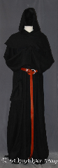 Robe:R394, Robe Style:Monk&#039;s Robe with Detached cowl, Robe Color:Black, Fiber:Linen/Rayon, Machine Washable, Sleeve:37&quot;, Chest:up to 52&quot;, Length:63&quot;, Height:Up to 6&#039;1&quot;, Note:Lightweight and easy care,<br>in a rayon linen loose weave,<br>a great piece of spring monk outerwear.<br>With a detached cowl and rope belt<br>makes a great accessory for everyday<br>wear, religious ceremony,<br> LARP or Renaissance Fair.<br>The Robe is machine washable!.