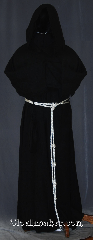 Robe:R395, Robe Style:Monk&#039;s Robe with Attached cowl, Robe Color:Black, Fiber:Linen/Rayon, Machine Washable, Sleeve:36&quot;, Chest:up to 62&quot;, Length:63&quot;, Height:Up to 6&#039;1&quot;, Note:Lightweight and easy care,<br>in a rayon linen loose weave,<br>a great piece of spring monk outerwear.<br>With an attached cowl and rope belt<br>makes a great accessory for everyday<br>wear, religious ceremony,<br> LARP or Renaissance Fair.<br>The Robe is machine washable!.