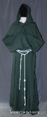 Robe:R397, Robe Style:Monks Robe with Detached cowl<br>and coin pouch, Robe Color:Olive Green, Front/Collar:Round neck, Fiber:Poly Suiting<br>Machine Washable, Sleeve:39&quot;, Chest:60&quot;, Length:66&quot;, Height:Up to 6&#039;5&quot;, Note:This light weight olive green  monks robe<br>made of poly suiting, perfect for<br>cool indoor events.<br>The detached hood is removable<br>for ease of use and can be<br>hemmed to desired length.<br>A rope belt is included with the<br>option of a leather belt<br>for extra $45.<br> Machine Washable.