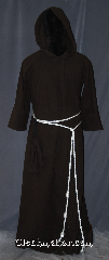 Robe:R398, Robe Style:Monks Robe with Attached cowl<br>and coin pouch, Robe Color:Black, Fiber:Cotton Flannel, Neck:30&quot;, Sleeve:31&quot;, Chest:up to 51&quot;, Length:65&quot;, Height:Up to 6&#039; 4&quot;, Note:Soft and resilient  this cotton flannel<br>attached hood monks robe is<br>comfortable for whatever you need to do.<br>Pictured with a rope belt<br>and a matching pouch included.<br>Machine washable.