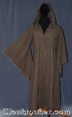 Robe:R402, Robe Style:Post apocalyptic Jedi Robe / Wizard, Robe Color:Brown, Fiber:Homespun look heathered brown<br>Poly Suiting, Neck:26&quot;, Sleeve:34&quot;, Chest:up to 48&quot;, Length:61&quot;, Height:5&#039; 11&quot;, Note:This durable polyester suiting<br>gives the looks of homespun linen<br>without the wrinkles.<br>With a rough feel and edge for a<br>rustic post apocalyptic look.<br>Machine wash. Easy care.