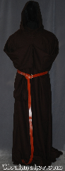 Robe:R403, Robe Style:Monk&#039;s Robe with attached hooded cowl, Robe Color:Trappist brown, Fiber:Washed Worsted Wool Crepe, Sleeve:37&quot;, Chest:up to 60&quot;, Length:68&quot;, Height:6&#039;7&quot;, Note:Made of easy care light weight wool suiting<br>this chocolate brown attached hood <br>monks robe is comfortable for<br>whatever you need to do.<br>Can be hemmed to desired length<br>A coin pouch and rope belt is included<br>with the option of a leather belt<br>pictured for extra $45.<br> Machine washable..
