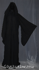 Robe:R408, Robe Style:Sith or Holocaust Style Cloak, Robe Color:Black, Fiber:Wool blend Suiting, Neck:21&quot;, Sleeve:34&quot;, Chest:Up to 52&quot;, Length:67&quot;, Height:6&#039;2&quot;, Note:Lightweight and easy care, <br>a great piece of spring outerwear.<br>Made with a breathable black wool<br>blend suiting with hidden clasp<br>and long pointed sleeves<br>Makes a great accessory for everyday wear,<br> LARP or Renaissance Fair.<br>The Robe is machine washable!<br>Can be hemmed to height.