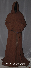 Robe:R409, Robe Style:Monks Robe with two pointed<br>Detached cowl options<br>and coin pouch, Robe Color:Warm saddle brown, Fiber:cotton weave, Sleeve:37&quot;, Chest:Up to 54&quot;, Length:61&quot;, Height:Up to 5&#039;11&quot;, Note:This light weight saddle brown<br>monks robe made of a soft<br>cotton weave, perfect for<br>cool indoor events.<br>The robe has two styles of<br>detached hoods available. <br>One is a short point while the other<br>is a little longer, please note<br>preferred hood when ordering.<br>This robe can be<br>hemmed to desired length<br>A rope belt is included with the<br>option of a leather belt pictured<br>for extra $45.<br> Machine Washable.