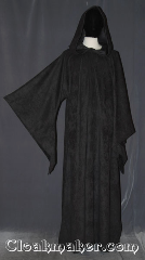 Robe:R411, Robe Style:Sith or Holocaust Style Cloak, Robe Color:corded grey, Fiber:Polyester, Neck:24&quot;, Sleeve:33.5&quot;, Chest:60&quot;, Length:62&quot;, Note:Lightweight and easy care,<br>a great piece of spring outerwear.<br>Made of a machine washablecorded<br>grey polyester with a double sided weave.<br>The exterior is a microfiber while<br>the interior has a satin feel.<br>Perfect for cool fall evenings<br>with hidden clasp and long pointed sleeves<br>Makes a great accessory for everyday wear,<br>LARP or Renaissance Fair.<br>Can be hemmed to height.