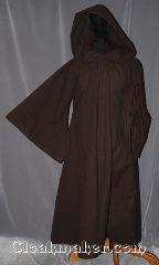 Robe:R412, Robe Style:Jedi Robe modeled after<br>Anakin Episode III, Robe Color:Dark Brown, Fiber:Cotton poly flannel, Neck:22&quot;, Sleeve:35&quot;, Chest:51&quot;, Length:60&quot;, Note:Warm and easy care,<br>a great piece of fall outerwear.<br>Made with a cotton flannel with<br>hidden clasp and curved drop sleeves, <br>Makes a great accessory for everyday wear,<br> LARP or Renaissance Fair.<br>The Robe is machine washable!.