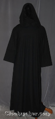 Robe:R413, Robe Style:Monk&#039;s Robe with attached<br>hooded cowl and coin pouch, Robe Color:Ink Black, Grey Woven, Fiber:Washed worsted wool, Sleeve:36&quot;, Chest:51&quot;, Length:64&quot;, Note:Made of easy care light weight<br>100% worsted wool suiting<br>this ink black attached hood<br>monks robe is comfortable for<br>whatever you need to do.<br>Can be hemmed to desired length<br>Option of a rope free of charge<br>or leather belt for extra $45.<br>Machine washable..