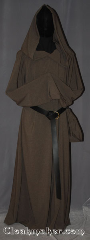 Robe:R414, Robe Style:Monk&#039;s Robe with attached<br>hooded cowl and coin pouch, Robe Color:Dark Tan, Fiber:Wool Blend Suiting, Sleeve:36&quot;, Chest:56&quot;, Length:60&quot;, Height:6&#039;, Note:Made of easy care light weight<br>100% wool suiting this brown<br>attached hood monks robe<br>is comfortable for<br>whatever you need to do.<br>Can be hemmed to desired length<br>Option of a rope free of charge<br>or leather belt for extra $45.<br> Machine washable..