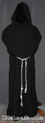 Robe:R416, Robe Style:Monk&#039;s Robe with attached<br>hooded cowl and pockets, Robe Color:Black, Fiber:Wool blend<br>linen look suiting, Sleeve:36&quot;, Chest:66&quot;, Length:64&quot;, Note:Made of a linen look light weight<br>wool blend suiting this black attached hood<br>monks robe is comfortable for<br>whatever you need to do.<br>can be hemmed to desired length<br>Option of a rope free of charge<br>or leather belt for extra $45.<br>Hand wash lay flat or dry clean..