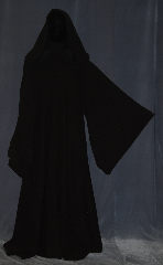 Robe:R417, Robe Style:Jedi Robe modeled after Qui-gon, Robe Color:Dark Brown, Fiber:Wool Blend Washable, Neck:23.5&quot;, Sleeve:36&quot;, Chest:58&quot;, Length:62&quot;, Note:Modeled after Qui Gon/Mace Windu<br>this textured wool blend robe<br>with pointed sleeves, a hood<br>and an open front<br> is easy to<br>move in and is perfect for<br>LARP events or serious occasions.