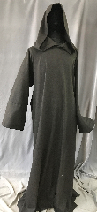 "Robe:R418, Robe Style:Hooded Monks Robe, Robe Color:Black twilled with Dark Brown, Fiber:Wool Blend, Neck:30"", Sleeve:37"", Chest:55"", Length:64"", Note:Washable no pouch, straight sleeve 55 chest."