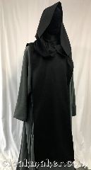 Robe:R420, Robe Style:Tabard, Robe Color:Black, Fiber:Wool, Neck:22&quot; neck opening<br>fits Heads smaller than 22&quot;, Sleeve:None, Chest:Open sides, Length:45.5&quot;, Note:Sleeveless, tight neck fit<br>(this listing is for the black tabard only,<br>robe and cord belt sold separately).