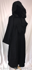 Robe:R422, Robe Style:Monk&#039;s Robe with attached<br>hooded cowl, Robe Color:Black, Fiber:Wool, Neck:21&quot;, Sleeve:30&quot;, Length:49&quot;.