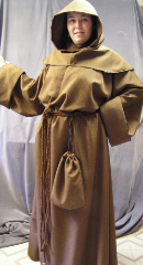 "Robe:R44, Robe Style:Monk's Robe with removable hooded cowl, Robe Color:Brown, Front/Collar:Key hole neck, Approx. Size:TBD, Fiber:Polyester Linen Look, Neck Length:24.5"", Sleeve:39"", Chest:64"", Length:65"", Height:6'5"", Note:$229 and up depending on fabric and size."