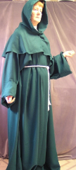 "Robe:R46, Robe Style:Monk's Robe with removable hooded cowl, Robe Color:Kelly Green, Front/Collar:Key hole neck, Approx. Size:TBD, Fiber:Polyester, Neck Length:23"", Sleeve:40"", Chest:62"", Length:67"", Height:6'7"", Note:$239 and up depending on fabric and size."
