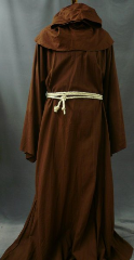 "Robe:R99, Robe Style:Monk's Robe with removable hooded cowl, Robe Color:Brown, Front/Collar:oversized key hole neck, Approx. Size:L to XXL, Fiber:Linen Cotton (Washable), Neck:varies, Neck Length:varies, Sleeve:37.5"", Chest:58"", Length:60"", Height:6', Note:$249-$399 depending on fabric and length."