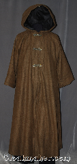 Robe:R311, Robe Style:Lined Coat, Robe Color:Brown, Black, Front/Collar:Round neck with 3 Gothic heart<br>hook and eye clasps, Fiber:100% Wool, Neck:21&quot;, Sleeve:30.5&quot;, Chest:Up to 56&quot;, Length:57&quot;, Note:A warm fully lined brown and black coat<br>with three Gothic heart hook and eye clasps.<br>With two inner breast pockets<br>this wool coat is perfect for<br>everyday use.<br>Dry clean only..