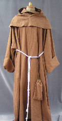 "Robe:R159, Robe Style:Monk's Robe with removable hooded cowl, Robe Color:Medium Brown, Front/Collar:keyhole neck, Approx. Size:L to XXL, Fiber:Washed heavy weight linen, Sleeve:34"" (full fold back cuffs), Chest:52"", Length:59"", Height:Up to 5'10"", Note:Comes with Rope Belt and Pouch."