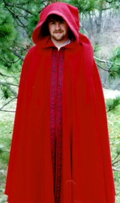 Red wool cloak with Celtic Dog Trim