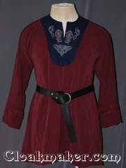 maroon/navy Tunic with contrasting navy and celtic horse knot embroidery