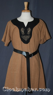tan/black Tunic with contrasting black fabric and celtic horse knot embroidery