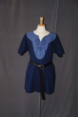 navy/ blue Tunic with medium blue and celtic horse knot embroidery