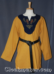 yellow/navy blue Tunic with navy and celtic horse knot embroidery