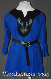blue/black Tunic with contrasting black fabric and celtic horse and dog knot embroidery