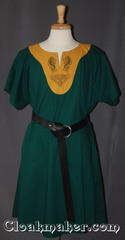green/amber yellow Tunic with contrasting amber fabric and celtic horse and knot embroidery