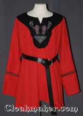 red/black Tunic with contrasting black fabric and celtic horse and knot embroidery trimmed with celtic fish red/black trim