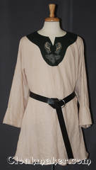 cream/green Tunic with contrasting green cotton fabric and celtic horse and knot embroidery