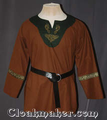 brown/green Tunic with contrasting green cotton fabric and gold celtic dragon and knot embroidery trimmed with cross: gold, green, white, brown trim
