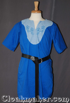 blue Tunic with light blue and celtic horse embroidery