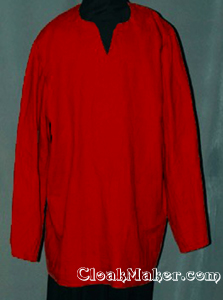 Red Peasant Shirt with side slits